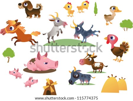 Vector set of cartoon farm animals