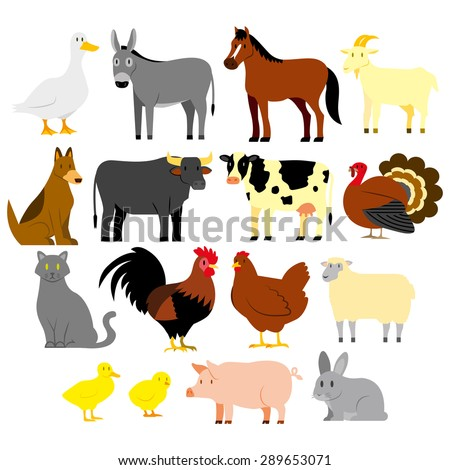 vector set of cartoon farm