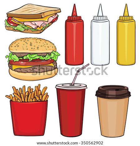vector set of cartoon fast food
