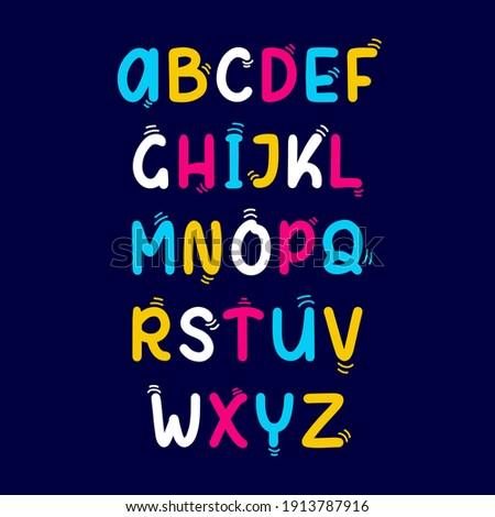 Vector set of cartoon funny english Alphabets. Cute colorful vector English alphabet, funny hand drawn typeface, ABC, uppercase letters. Playful style font design, childish alphabet.