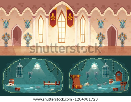 Vector set of cartoon game backgrounds, hall in medieval castle or ballroom with gobelins, knight guards. Empty prison cell, interior with shackles on stone walls, pillory, bunks and hanging cages Stockfoto ©