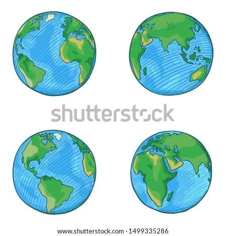 vector set of cartoon globe