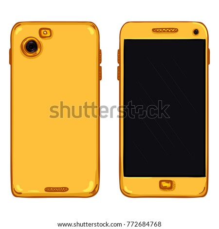 Vector Set of Cartoon Gold Smartphones. Back and Front View.