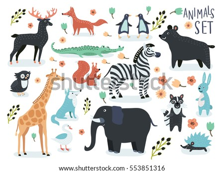 vector set of cartoon