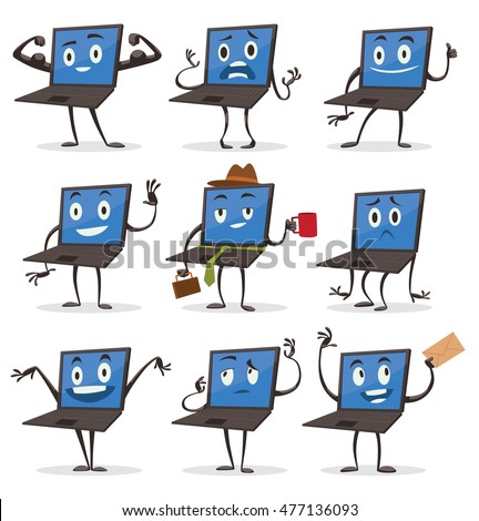 Vector set of cartoon images of black laptops with blue screens, with arms and legs with a variety of emotions and actions on a white background. Positive character. Vector illustration.