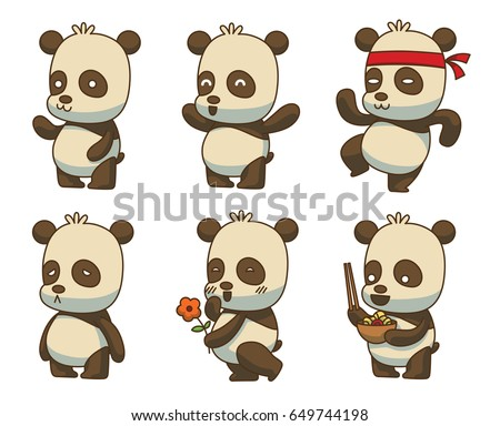 Vector set of cartoon images of cute little black-white pandas with different actions and emotions on a white background. Animals, wildlife, zoo. Positive character. Color image.