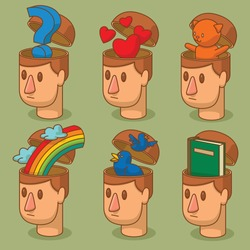 Vector set of cartoon images of men's heads with open braincases from which appears: a question mark, red hearts symbols, a rainbow, a green book, two blue birds and a little cat on a green background