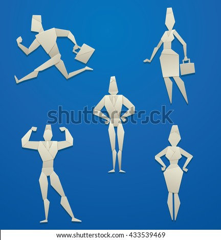 Vector set of cartoon images of white origami businessmen in suits and business women on a blue background. Made in origami style. Paper origami. Vector business illustration.