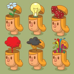 Vector set of cartoon images of women's heads with open braincases from which appears:  flower, cloud of nuclear explosion,  light bulb, black cloud, red dices and rainbow fountain on green background