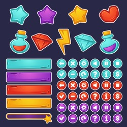 vector set of cartoon object and icons for graphical user interface to build 2D games