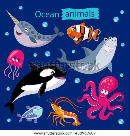 vector set of cartoon ocean