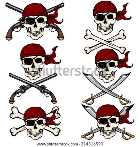 vector set of cartoon pirate
