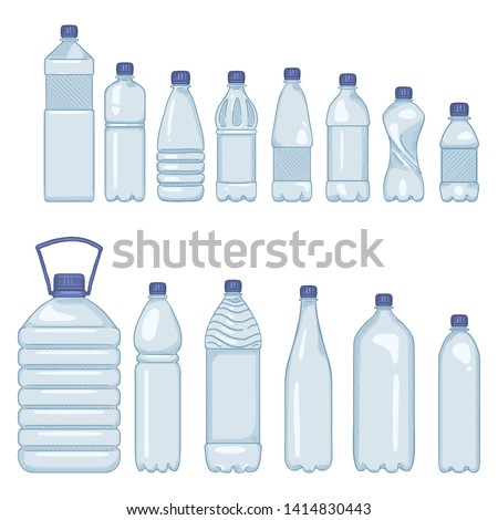 Vector Set of Cartoon Plastic Bottles of Water on Isolated White Background
