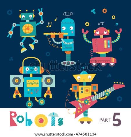 vector set of cartoon robots