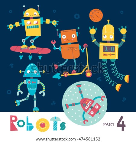 vector set of cartoon robots