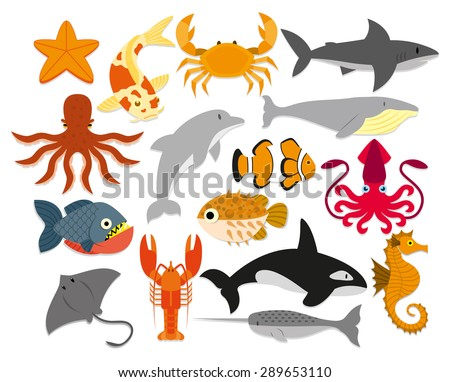 vector set of cartoon sea