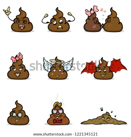 Vector Set of Cartoon Shit Characters. Turd Emoticon Collection