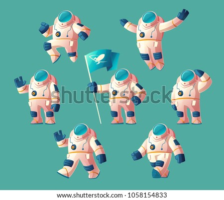 Vector set of cartoon spaceman, moving cosmonaut in spacesuit, helmet isolated on blue background. Futuristic clothing for exploration of cosmos, galaxy, space.