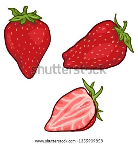 Vector Set of Cartoon Strawberry