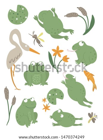 Vector set of cartoon style flat funny frogs in different poses with waterlily, dragonfly, mosquito, reed, heron clip art. Cute illustration of woodland swamp animals. Collection of amphibians Foto d'archivio ©