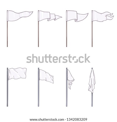 Vector Set of Cartoon White Color Flags on Wooden and Steel Flagpoles