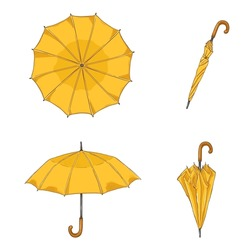 Vector Set of Cartoon Yellow Umbrellas. Different View and Variation.