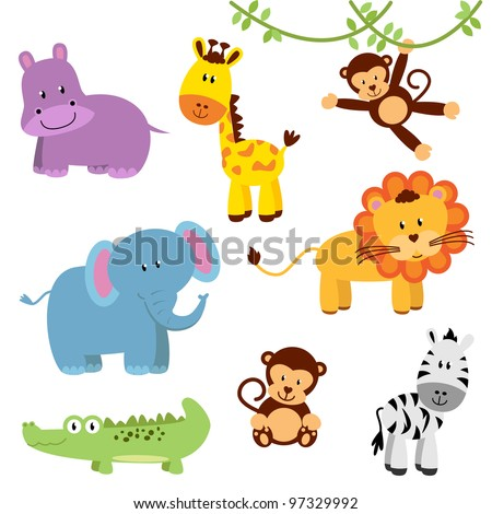 Vector Set of Cartoon Zoo and Jungle Animals