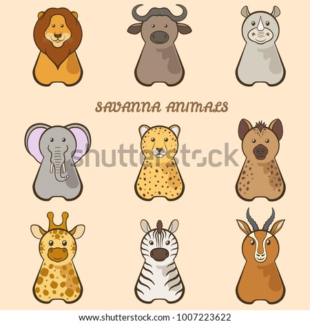 Vector set of cartoonish savanna animals.