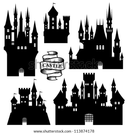 vector set of castle silhouette