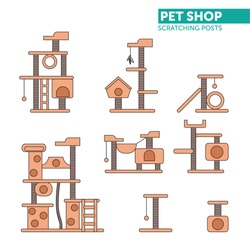 Vector set of cat towers. Color scratching rope post set. Cat square house with hanging ball toy. Flat design.