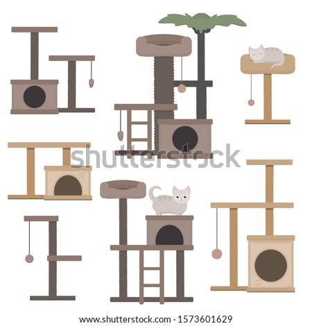 vector set of cat towers