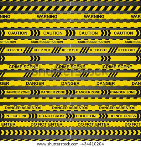vector set of 18 caution tapes