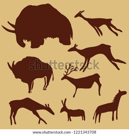 Vector Set of Cave Painting Animals. Primitive Art Illustrations.