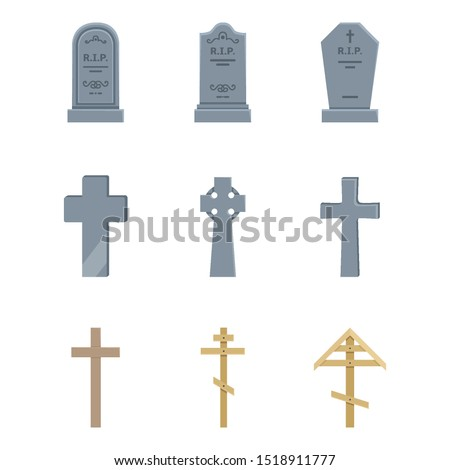 Vector Set of Cemetery Icons. Headstones, Gravestones, Tombstones and Crosses. Funeral Symbol. ストックフォト ©