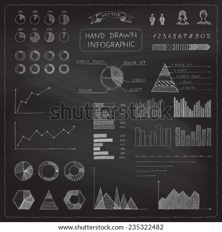 Vector set of chalk business infographic elements Hand-drawn diagrams icons and graphs on chalkboard background
