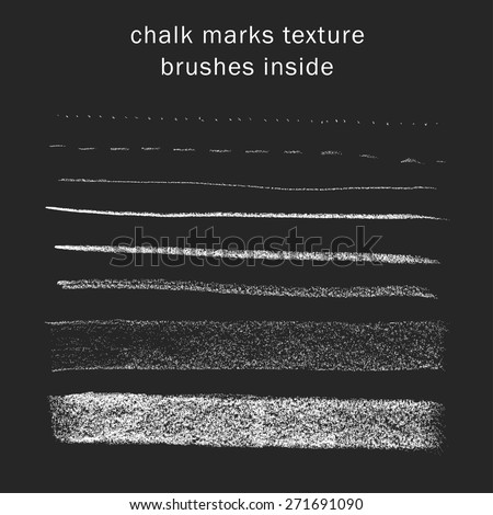 Vector set of chalk marks texture, brushes inside