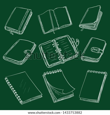 Vector Set of Chalk Sketch Notebooks, Notepads and Diaries