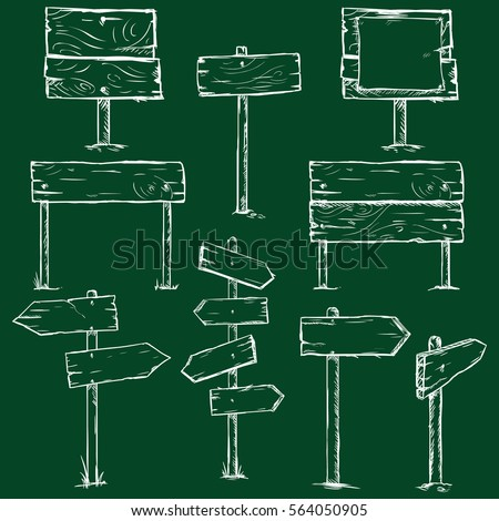 Vector Set of Chalk Sketch Signboards on Dark Green Background #564050905