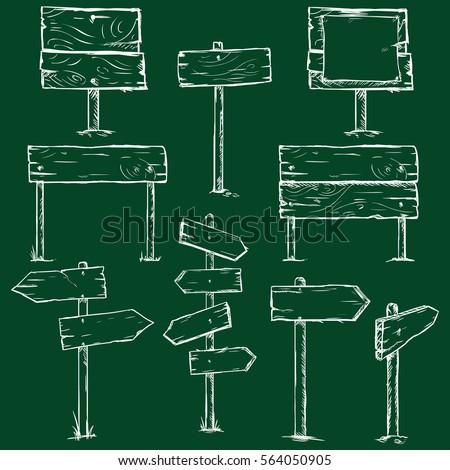 Vector Set of Chalk Sketch Signboards on Dark Green Background #564050905