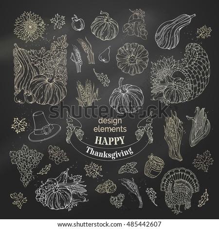 Vector set of chalk Thanksgiving design elements. Traditional festive symbols on blackboard background. Turkey, horn of plenty, pilgrim's hat, pumpkin, corn, wheat, sunflower, autumn leaves and others #485442607