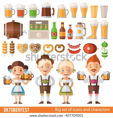 Vector set of characters and icons in a flat style  Oktoberfest. Girls and boys in folk costumes. Set of beer mugs, barrel, bottle, hot dogs, and other attributes of the Oktoberfest.