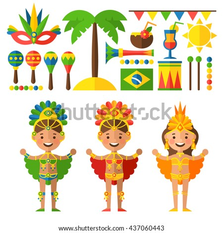 Vector set of characters and objects in the tradition of Brazil. Brazilian Carnival. Brazilian dancers, maracas, drums, flags and cocktails.