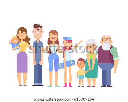 Vector set of characters in a flat style good for animation. Big family together - grandfather, grandmother, mom, dad, kids. Happy family portrait isolated on white background.