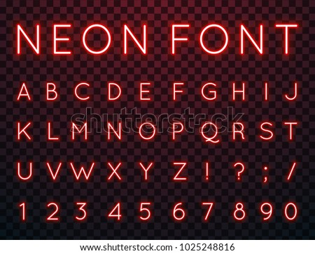 Vector set of characters in retro style. Neon font. Alphabet with glow effect. The letters and numbers in the style of techno. #1025248816