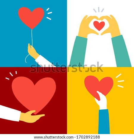 Vector set of charity and kindness donation illustration on color background. Hand with red shape heart. Flat style romantic design of sharing love heart for Valentine's Day greeting card, poster Photo stock ©