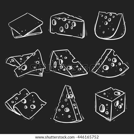 Vector set of cheese isolated on a black background. Hand drawn cheese outline vector illustration.