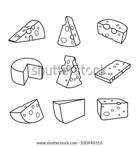 Vector set of cheese isolated on a white background. Hand drawn cheese outline vector illustration. Cheese sketch.