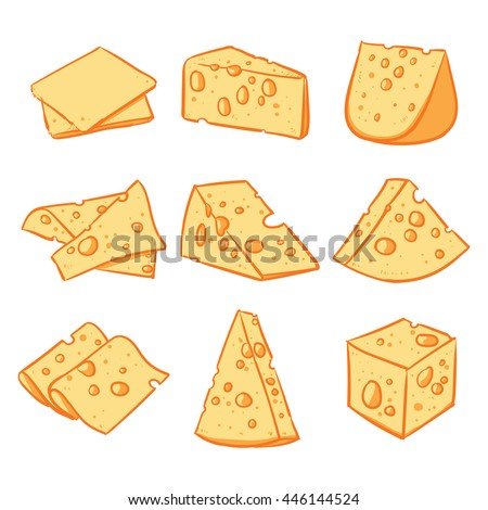 Vector set of cheese isolated on a white background. Hand drawn cheese vector illustration.