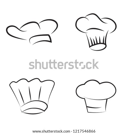 Vector set of chef hats. Baker caps isolated on white background