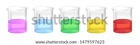 Vector set of chemical beakers with  liquid fluids – water, acid, solvent or chemicals. Full laboratory glassware with different colors of substance solution isolated. Purple, blue, green, yellow, red